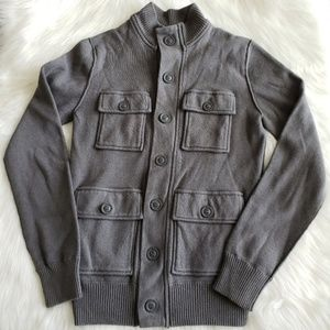 Fossil gray cotton buttoned sweater jacket Small